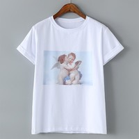 Women Angel Kiss Paintings T Shirts Summer Tshirt Casual Short Sleeves Tops Harajuku Tee  Digital Printed TShirts