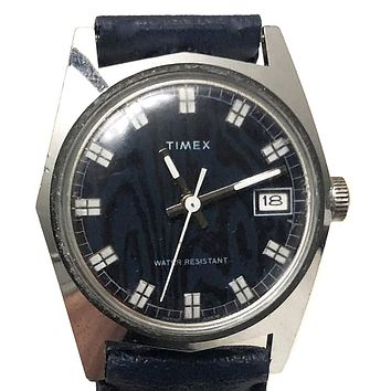 Vintage 1976 Timex Blue Automatic Watch With Datekeeper