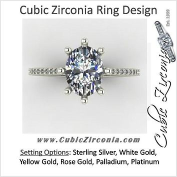 Cubic Zirconia Engagement Ring- 2.12 TCW 8-prong Oval Cut Ring with Single Row Pave Accents