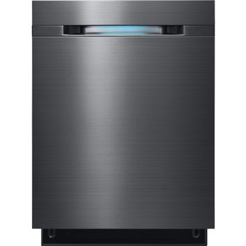 "Samsung - WaterWall 24"" Tall Tub Built-In Dishwasher - Black Stainless Steel"