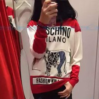 Moschino Women Fashion Print Wool Top Sweater Pullover