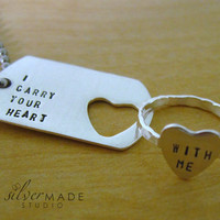 I carry your heart  PETITE dog tag and by SilverMadeStudio on Etsy