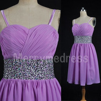 Sequins Sweetheart Strapless Straps Empired Short Bridesmaid Celebrity Dress, Chiffon Formal Evening Party Prom Dress New Homecoming Dress