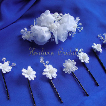 Bridal headpiece, Organza rosettes and SWAROVSKI crystals headpiece set,