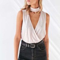 Silence + Noise Violet Mock Neck Surplice Top - Urban Outfitters