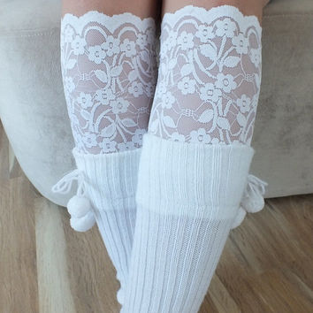 Lace Boot Cuff // Boot Socks off white Boot Topper Leg Toppers Socks Leg Warmer Women's Shoe Accessories Free Ship