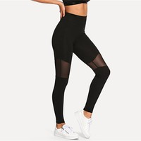Casual Sexy Contrast Mesh Contrast Skinny Solid Leggings Summer Women Trousers