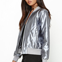 MinkPink Brave Heart Satin Quilted Bomber Jacket at PacSun.com