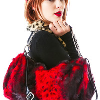 SilverStop The Cliff Fur Chain Bag Red One