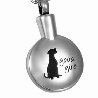 VALYRIA Sitting Dog Round Cremation Jewelry Keepsake Memorial Pet Urn Necklace - 316L Stainless Steel - Cremate jewelry