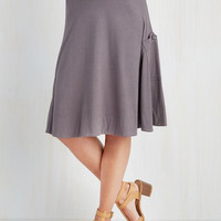 Mid-length A-line At the Racquet of Dawn Skirt in Stone