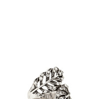 FOREVER 21 Rhinestoned Feather Ring Burn.S/Clear