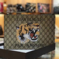 GUCCI New fashion men and women tiger letter print handbag wallet Khaki