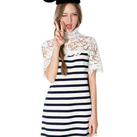 Short Sleeve Striped Funnel Collar Mini A-Line Dress with Crochet Lace Accent