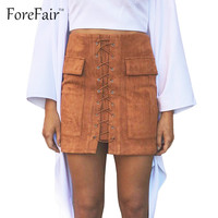 Latest High Quality Suede Leather Women Skirt Classic Vintage All-match Bandage Skirts High Waist Bodycon Short Pencil Skirt