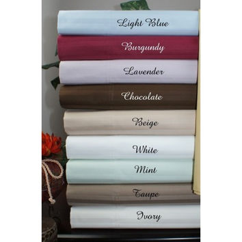 600 Thread Count Cal King Water Bed Egyptian Cotton Striped Sheet Set- Unattached