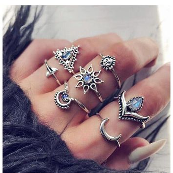 Bohemia Moon Lotus Crown Ring Sets