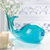 Aquamarine Art-Glass Whale Vase