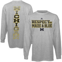 Michigan Wolverines adidas Respect Long Sleeve T-Shirt – Gray