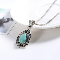 ZOSHI Vintage Pendants & Necklaces For Women Tibetant Silver Chain Water Drop Blue Stone Beads Long Necklace Hot