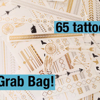 Grab Bag! - Metallic Gold, Black And Silver Temporary Tattoo - Flash Tattoo - Metallic Tattoo - Easy Application Metallic Tattoo - Trending