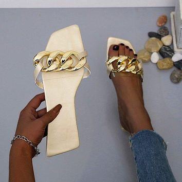 New women's large size flat slippers sandals shoes