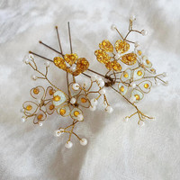 Bridal Hair Pins, Wedding Hair Pins, Hand-made Flowers, Hair Accessories, Gold Hair Pins, Boho Hair Pins, Flowers Hair Pins, Hair Jewelry