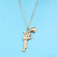 Gun, Gold, Silver, Necklace, Gun, Jewelry, Celebrity, Necklace, Long, Necklace, Bullet, Necklace, Birthday, Friendship, Gift, Jewelry