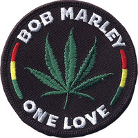 Bob Marley Men's Leaf Embroidered Patch Black