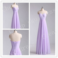 2014 First-Class A-line Sweetheart Ruffle Cheap Lace-up Long Bridesmaid Dress Party Dress Evening Dress Prom Dress Formal Dress 2014