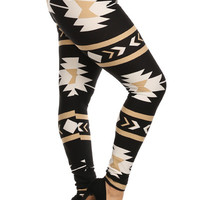 Plus Size Black and Gold Tribal Print Leggings
