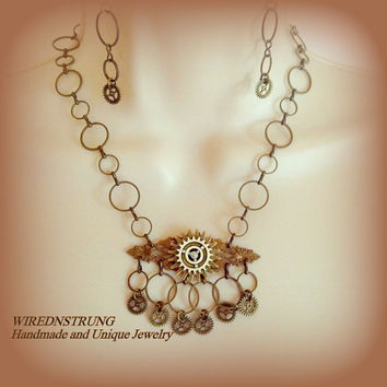 Steampunk Necklace and Earring set, Victorian Necklace, Trending Jewelry, Women's Jewelry, Gift for her, Fashion Jewelry, Bohemian Jewelry