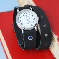 Handmade black leather bracelet wrap around wrist with silver watch face - Free Shipping