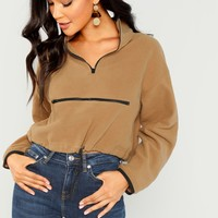 Half Placket Zip Up Sweatshirts