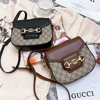 GUCCI 2020 new single shoulder diagonal cross-body bag retro saddle bag