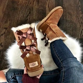 UGG double bow women men Boots Shoes