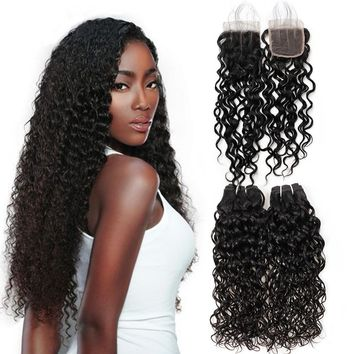 Hair Bundles with closure Brazilian  Unprocessed water wave Virgin Human Hair 3 Bundles With Lace Closure hair weaving human virgin hair bundles