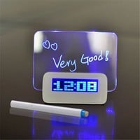 Top Christmas Gifts 2016 - 3D Blue LED Digital Alarm Clock with Message Board USB 4 Port Hub