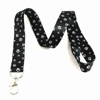Dog Themed Lanyard Key Chain Id Badge Holder (Paw Print Black/White)
