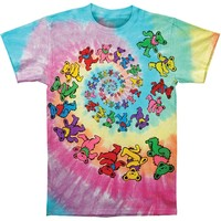 Grateful Dead Men's  Spiral Bears Tie Dye T-shirt Multi