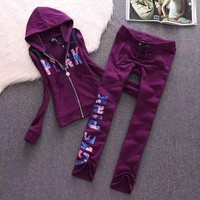 Victoria's Secret PINK Letter Print Fashion Women Sweater Casual Sportswear Two Piece Set I