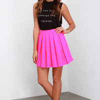 Beg and Pleat Hot Pink Skater Skirt