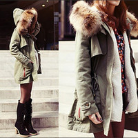 Fashion Women's Thick Military Jacket Fleece Fur Hood Long Winter Coat  Parka