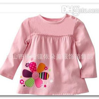 New Fashion Girl Pure Cotton T-Shirt Children Garment Long Sleeve Tee Kid Clothing O-Neck Animal flower Pattern Frilly Tops 1912