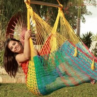 Extra Large Mayan Chair Hammock XXL Thick Cord -MULTICOLOR in COTTON