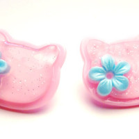 Light Pink and Turquoise Hello Kitty Stud Earrings