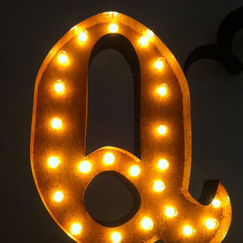 Vintage Marquee Lights Letter Q by VintageMarqueeLights on Etsy