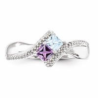 14k White Gold Personalized 2 Stone Diamond Accented Ring