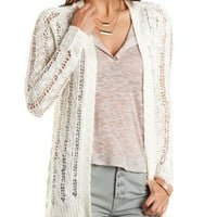 Cable Knit Open Stitch Cardigan by Charlotte Russe - Ivory