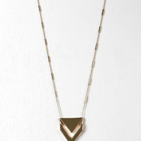 Chevron Pendant Bar Chain Necklace